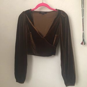 Forever 21 brown velvet crop top small